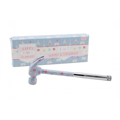 Happy Glampers Blue/Pink Floral 6 In 1 Hammer & Screwdriver Set Girly DIY Tools