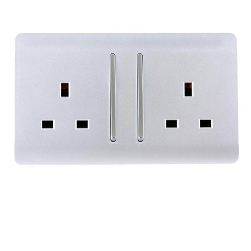 Trendi Switch 2 Gang Artistic Modern Glossy 13 Amp Electrical Long Switched Plug Socket Silver
