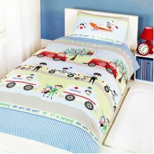 "Childrens ""emergency Vehicles"" Single Duvet Set Sold Bykatie Malones - -  duvet single emergency set cover vehicles police fire engine ambulance kids"