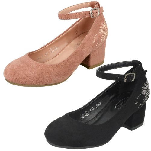 Girls Spot On Mid Heel Ankle Strap Shoes