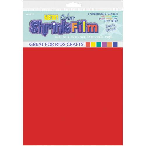 "Grafix Shrink Film 8.5""X11"" 6/Pkg-Red, Yellow, Purple, Blue, Orange, Green"