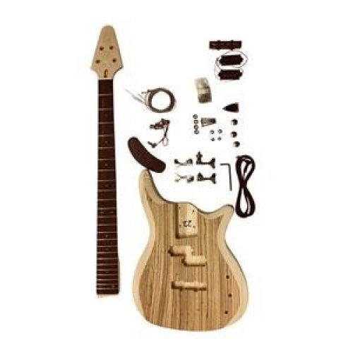 Bass Guitar with 2 Part Ash Wood Body With Zebrawood Veneer GD905Z 4 Strings Top Luthier DIY Kit.