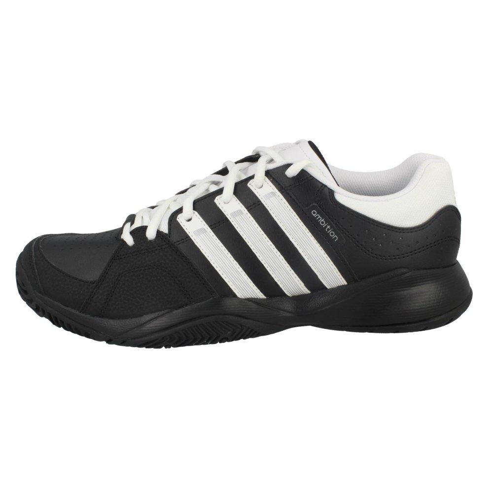 Mens Adidas Tennis Shoes Ambition VII Strip Q22732 BlackWhite UK Size 9.5 EU Size 44 US Size 10