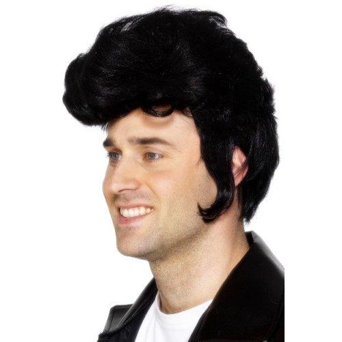 Black Adult Male Smiffy's Rockstar Wig -  wig black fancy dress rockstar costume smiffys elvis quiff 1950s mens accessory