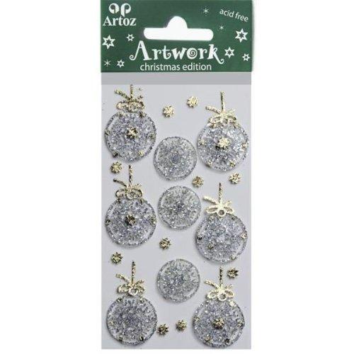 Silver Xmas Bauble Craft Embellishment By Artoz