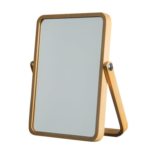 Home Decor Wooden Mirror Single-sided Vanity Mirror Tabletop Makeup Mirror 35x24CM (L Size)