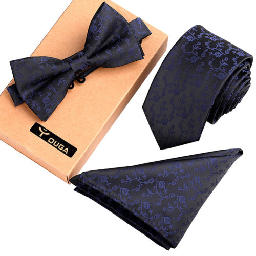 Black, Mens Fashionable Formal/Informal Ties Set Necktie Bow Tie Pocket Square