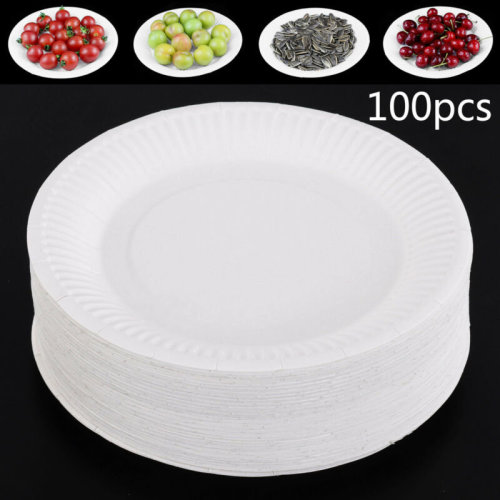 """100 Pcs PAPER & PLASTIC PLATES ROUND 18cm 7"""" TABLEWARE PARTY BIRTHDAY DISPOSABLE"""