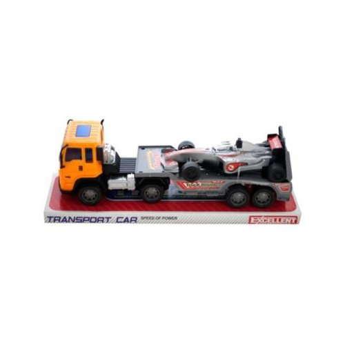 Kole Imports KL243-8 11 x 2.87 in. Friction Powered Trailer Truck with Race Car, Pack of 8