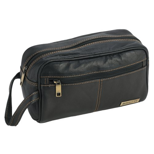 Unisex Genuine Real Leather Zipped Wash Toiletry Bag