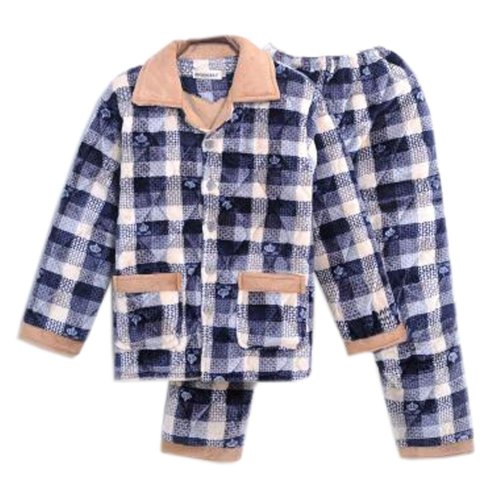 Men Pajamas Warm Thick Cotton Winter Suit Modern Set Sleepwear/Nightwear Clothes for Home, C7