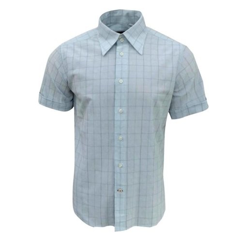 Duck and Cover Men's Ocean Drive Short Sleeve Check Shirt Sky Blue Medium