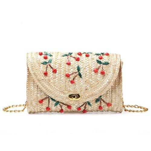 Women Straw Clutch Bag Boho Summer Purse Handbag Stylish Cherry Banana