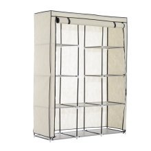 Homcom Portable Non-woven Fabric Canvas Wardrobe with Hanging Rail and Shelves