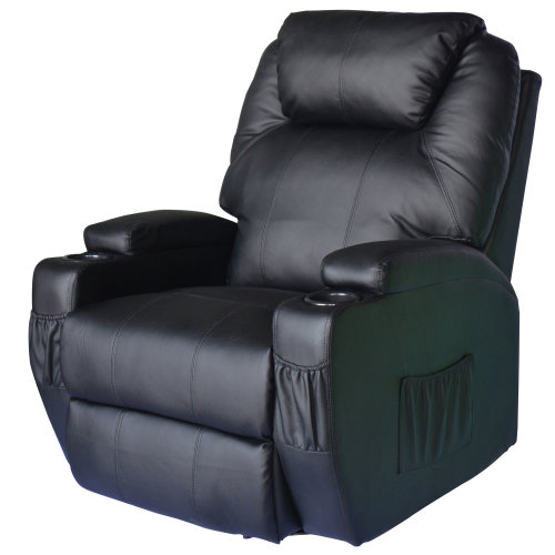 HOMCOM Leather Cinema Massage Chair Swivel Heat Functional Recliner Sofa