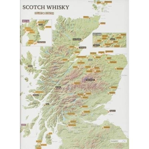 Whisky Distilleries Collect and Scratch Print - Poster for Scotch lovers - 29.7 (w) x 42.0 (h) cm