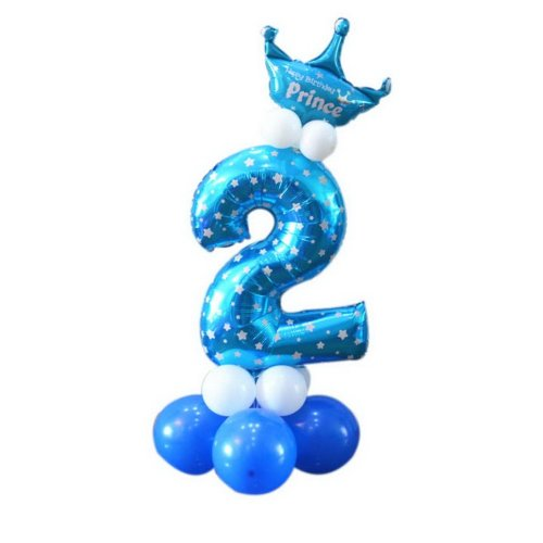 Column Balloons Children's Birthday Party Balloon Stage Decoration Number 2 Blue