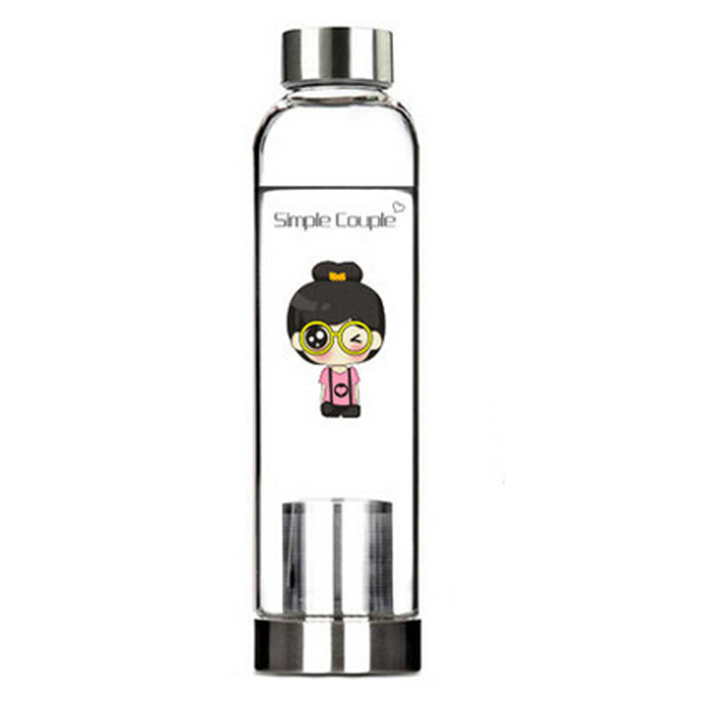 7044930f1387 550 ML High-quality Portable Glass Water Bottle Water Container,Glasses Girl
