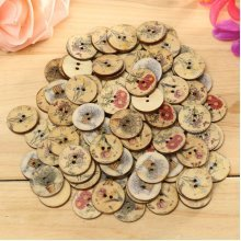 100pcs Wooden Flower Sewing Buttons