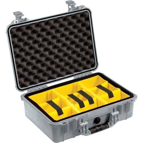 Pelican 1500 Case With Padded Divider Set Silver