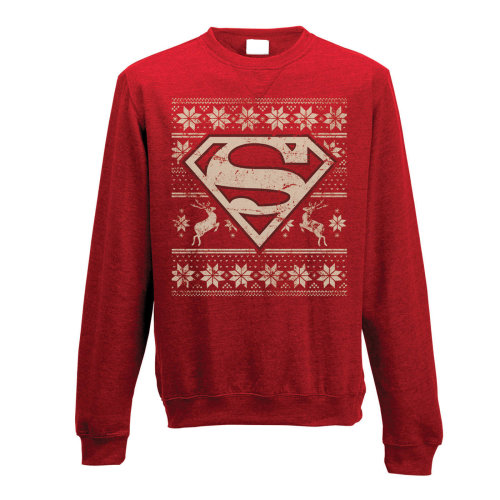 Medium Adult's Superman Jumper -  superman crewneck sweatshirt fair isle jumper dc comics logo mens red sweater