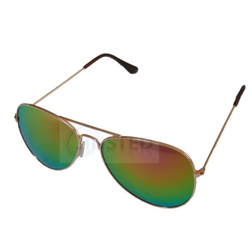 Adult Mirrored Reflective Lens Gold Frame Aviator Sunglasses AA019