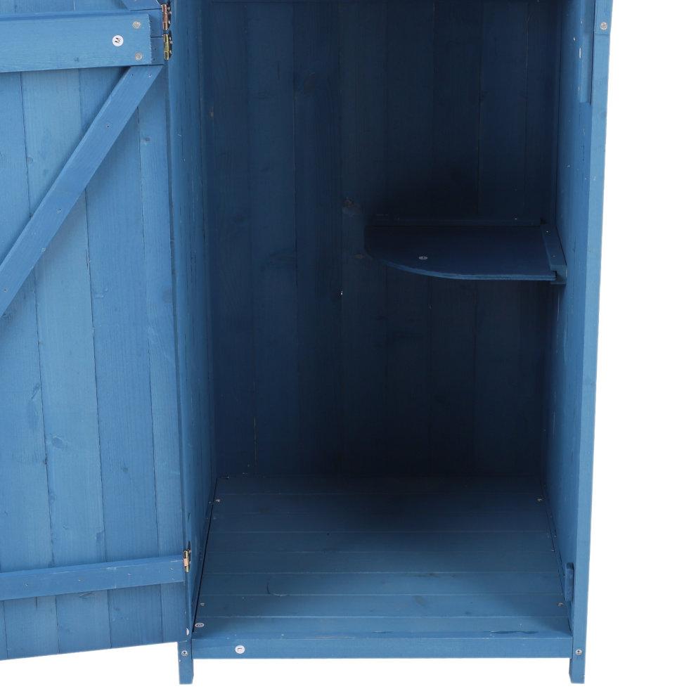 Outsunny Garden Storage Shed Tool Cabinet Wood Shelves Backyard Shelf Blue 4