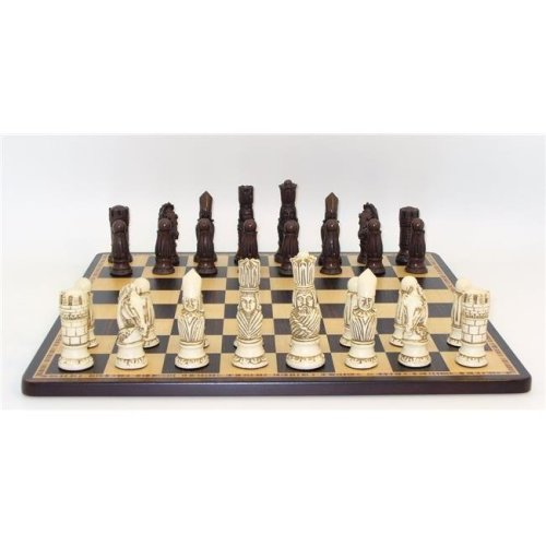 WorldWise Imports 40VIC-EBM 4 in. Victorian Resin Men on Ebony Birdseye Chess Set