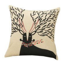 Decor Cotton Linen Decorative Throw Pillow Case Cushion Cover,Giraffe,Black