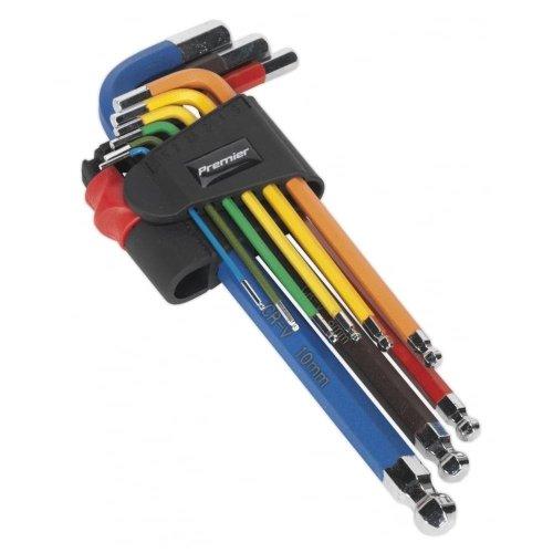 Sealey AK7190 Ball End Hex Key Set 9pc Colour Coded Long Metric