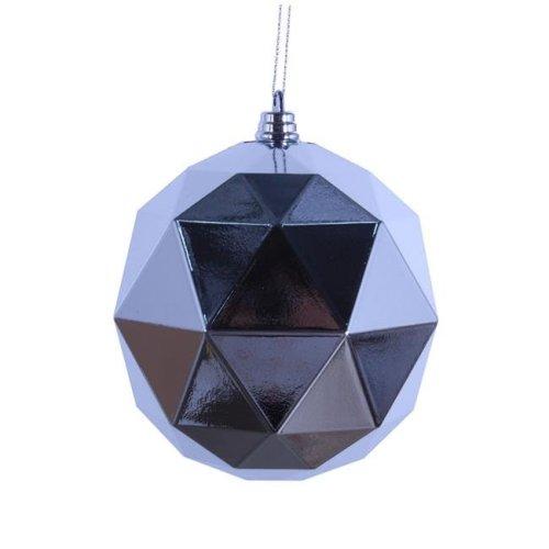 Vickerman M177307DS 4.75 in. Silver Shiny Geometric Christmas Ornament Ball - 4 per Bag