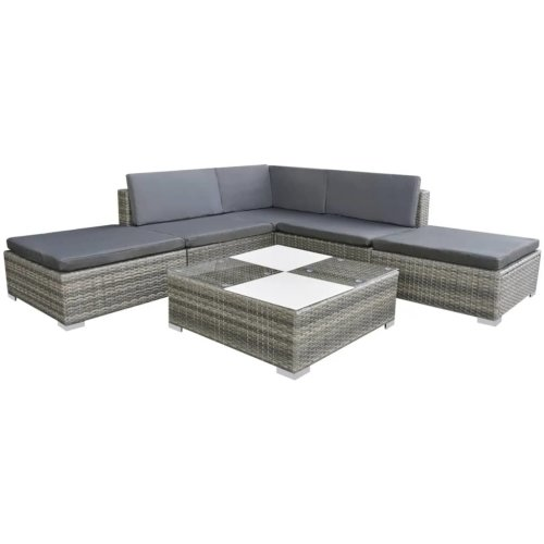 vidaXL Garden Sofa Set 15 Piece Poly Rattan Grey Outdoor Patio Furniture Seat