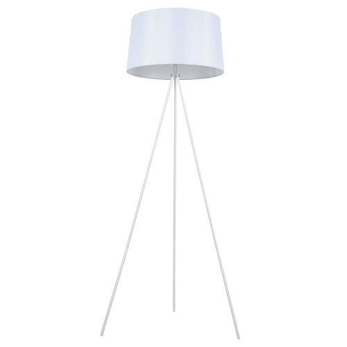 HOMCOM Standing Floor Lamp Bedside Light Metal Linen Shade Free Standing White