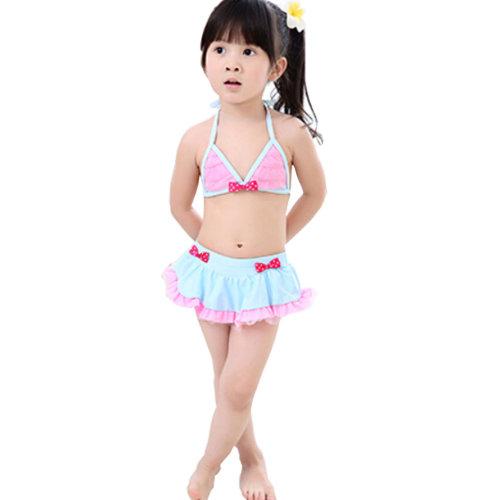 Lovely Little Girls Swimsuit Kids Two-pieces Bikini Swimwear 5T Pink/Blue