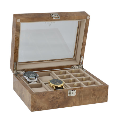 16 Cufflink and 4 Watch Collectors Box in Light Burl Wood by Aevitas