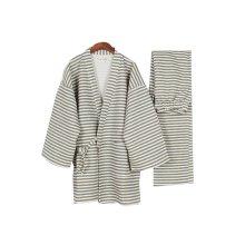 Fall & winter Cotton Thick Striped Pajamas Bathrobe Men's Pajamas Suit