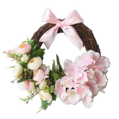 [Pink] Artificial Wreath Hanging Rattan Garland Door Wreath Wedding Decor