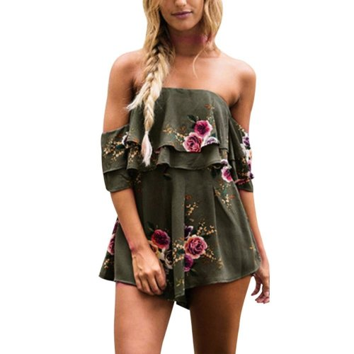 Floral Print Jumpsuit Women Summer Loose Playsuit Rompers #GH