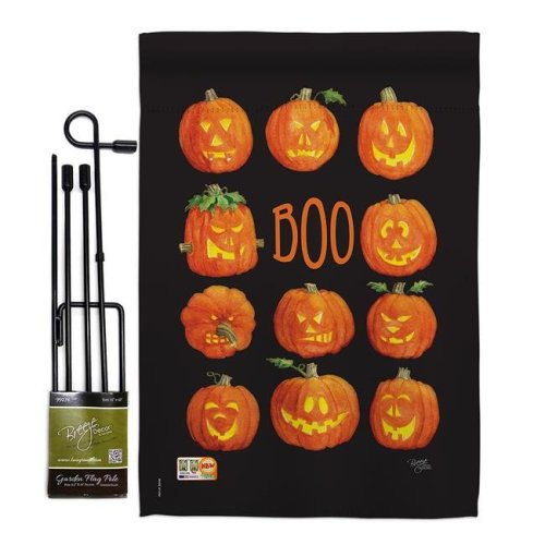 Breeze Decor BD-HO-GS-112071-IP-BO-D-US18-AM 13 x 18.5 in. Pumpkins Boo Fall Halloween Vertical Double Sided Mini Garden Flag Set with Banner Pole