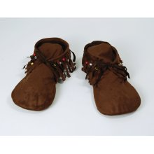 Brown Men's Hippy Indian Moccasins -  moccasins fancy dress hippy hippie indian shoes hippyindian mens 70s accessory