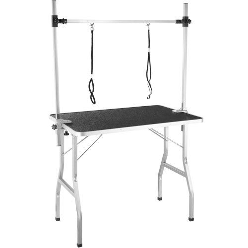 Dog Grooming Table with Two Slings - black/silver