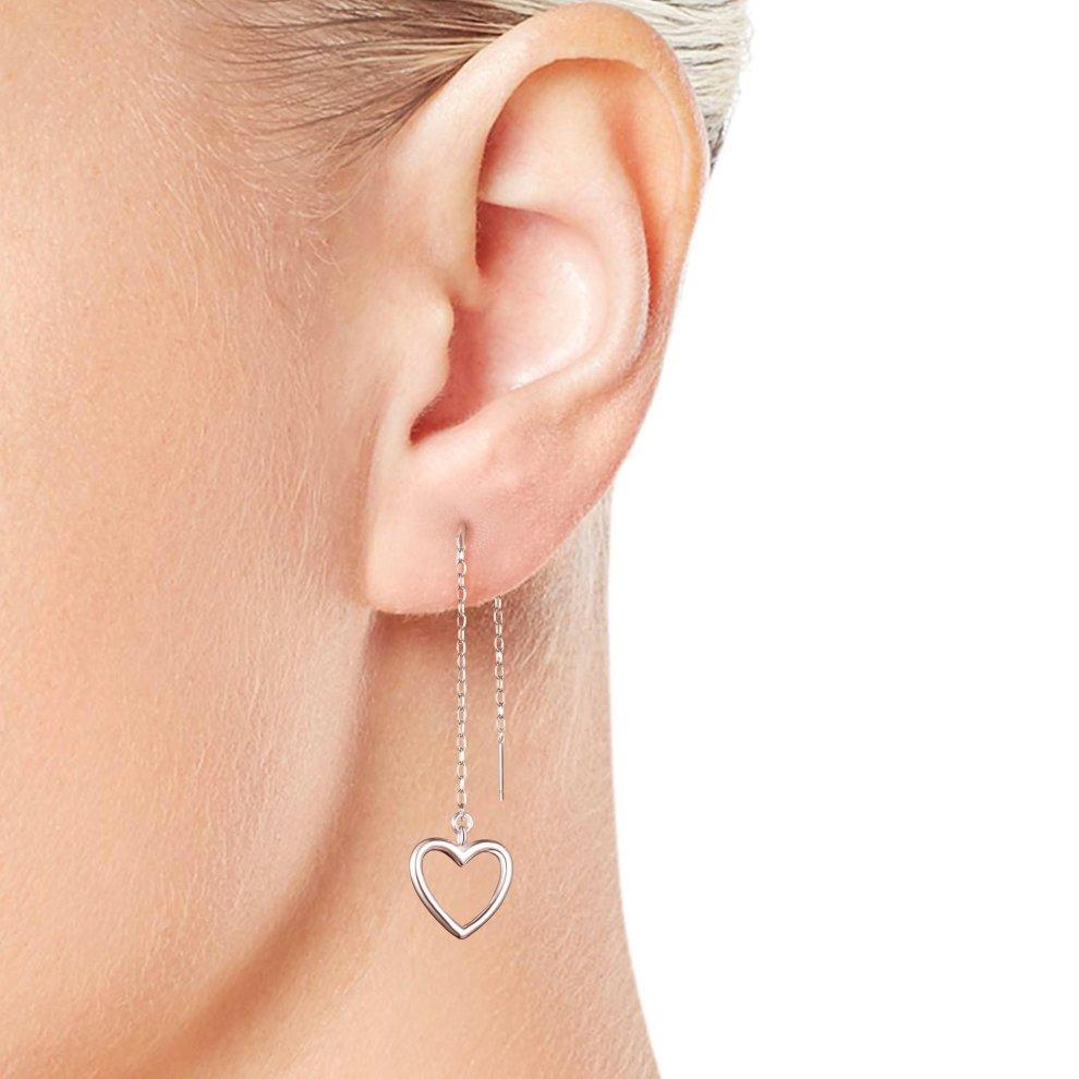 9dcdd25b3 Sterling Silver Heart Thread Earrings Sterling Silver Heart Thread Earrings  - 1 ...