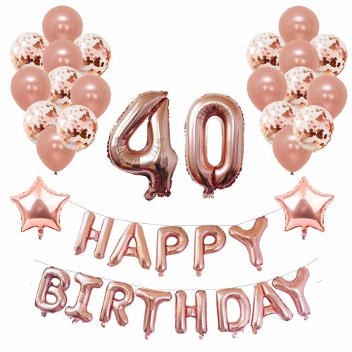 Yoart 40th Birthday Decorations Rose Gold For Women And Girl Party Supplies 39 Piece With Happy Banner Confetti Latex Balloons Star Foil On