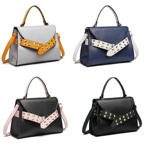 Miss Lulu Faux Leather Studded Belted Handbag