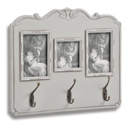 Fleur Wooden Triple Wall Mounted Photo Frame With 3 Coat Key