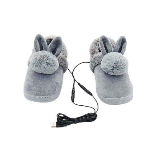 [Grey Rabbit] Heating Shoes Warm USB Electric Heated Slipper usb Foot Warmer for Winter 24cm