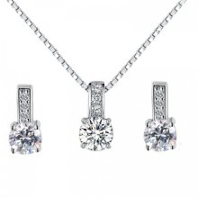 Classic Crystal Dual Set in Silver Colour