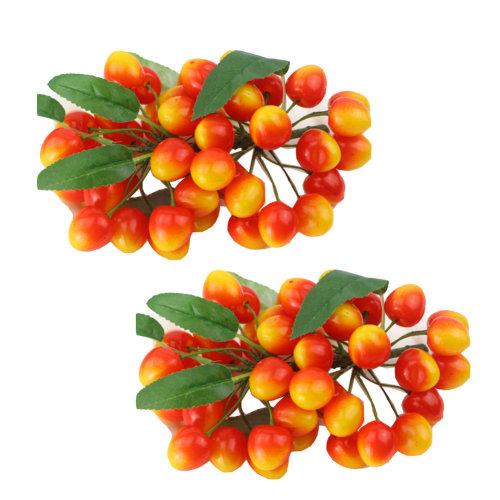 Plastic Fruits Artificial Cherry Storefront Decoration Kitchen Ornaments 2 Sets