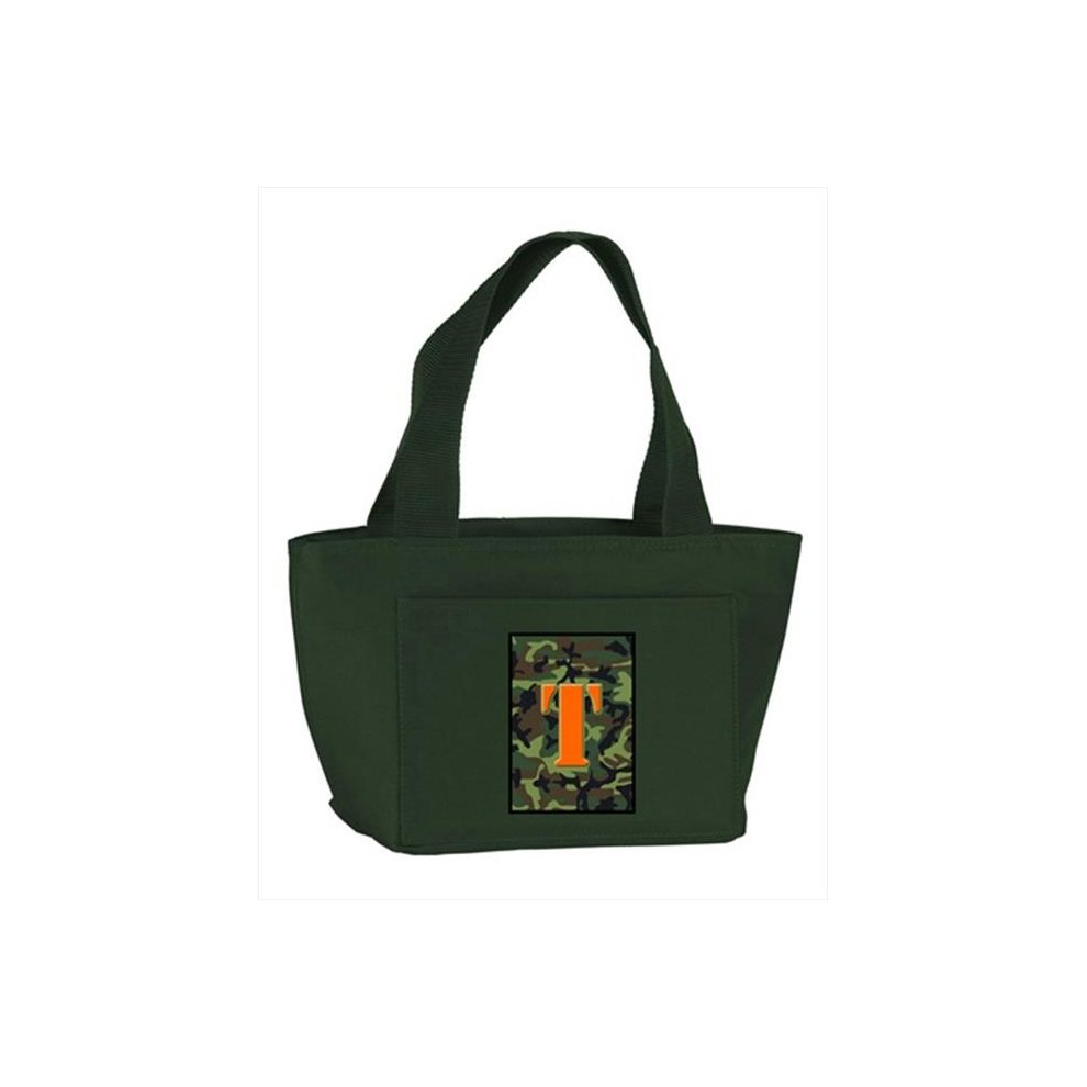a26a5048d21b Carolines Treasures CJ1030-T-GN-8808 Monogram Letter T - Camo Green  Insulated Cooler Lunch Bag