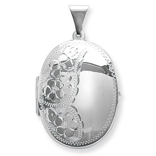 Childrens Sterling Silver Flower Engraved Oval Locket On A Curb Necklace